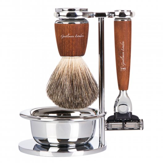 Shaving Set, 4 part, Steamed Ash