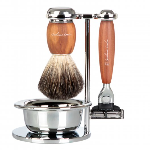 Shaving Set, 3 part, Plum Wood